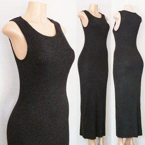 Grey Wool Blend Rib Knit Long Maxi Sweater Dress
